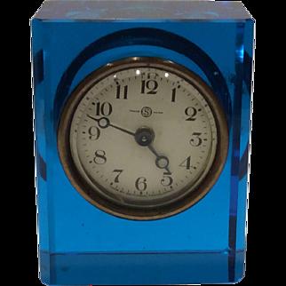 Seikosha, Tokyo, Japan Vibrant Blue Rectangular Glass Desk Clock