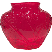 Consolidated Rare Red Katydid Pattern # X-2666 Vase
