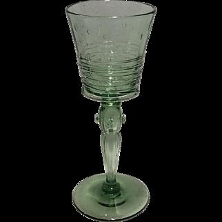 Steuben Spanish Green Shape # 6359 Reeded Wine Goblet