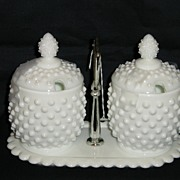 Fenton Milk Glass Hobnail 5 Piece Jam Set