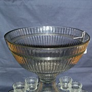Heisey Pattern # 150 Banded Flute Punch Bowl Set