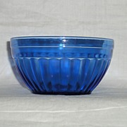 "Hazel Atlas Aurora Pattern Cobalt Blue 4.5"" Wide & 2-3/8"" Deep Bowl"