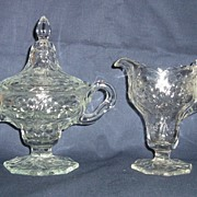 McKee Glass Rock Crystal Footed Covered Sugar & Creamer