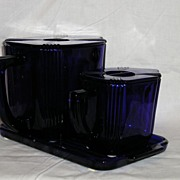 New Martinsville No. 2 Waffle Set in Cobalt Blue