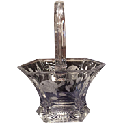 Heisey Crystal Plain Hexagon Basket with Floral Cutting