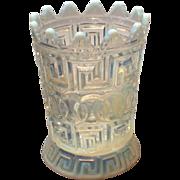 Nickel Plate Glass White Opalescent Double Greek Key Spooner