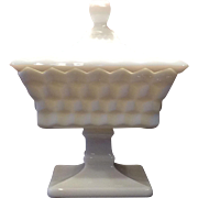 Fostoria Milk Glass American Pattern Small Wedding Bowl & Lid