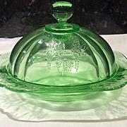 Federal Glass Green Parrot Sylvan Butter Bottom Only