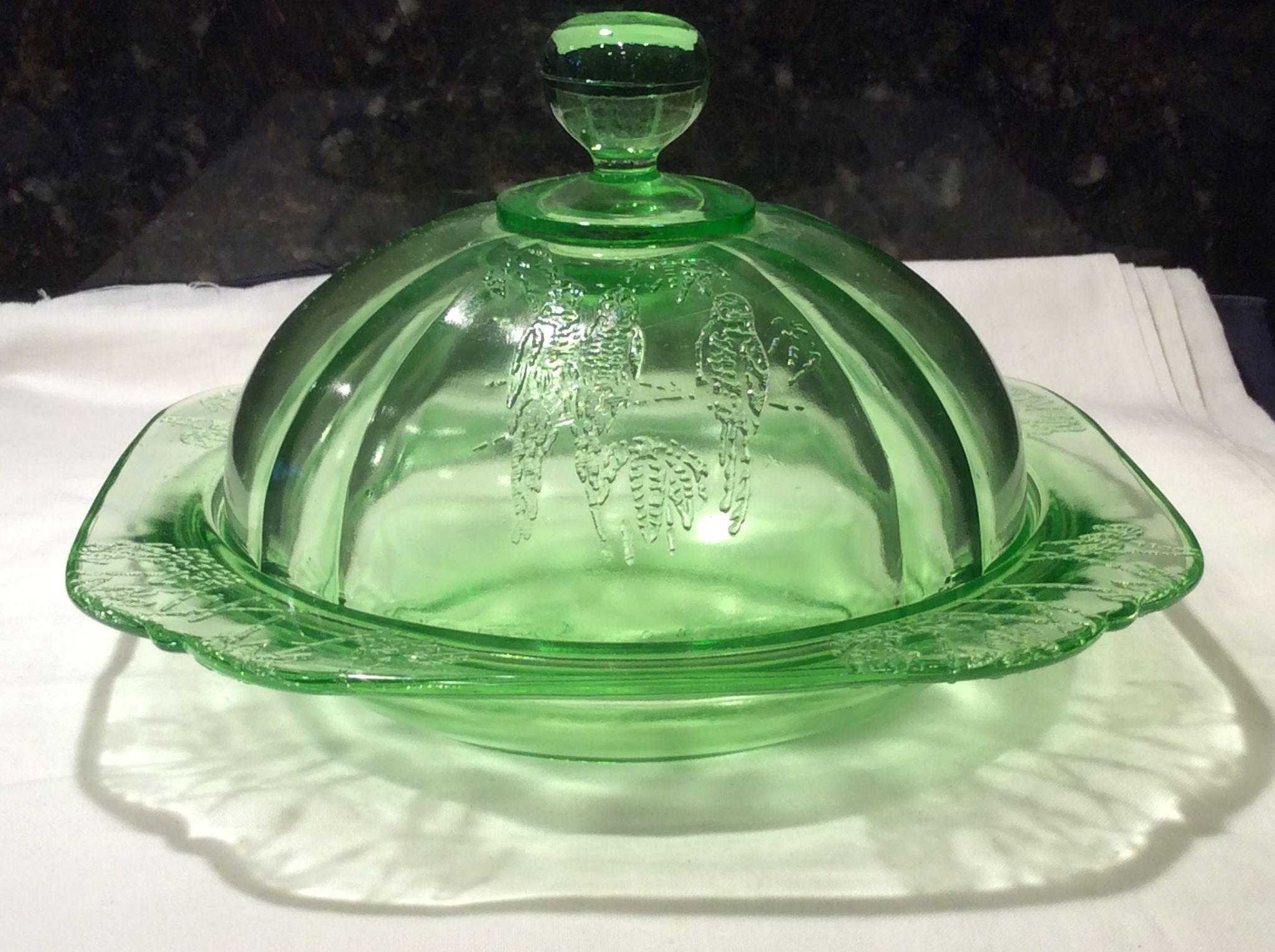 Federal Glass Green Parrot, Sylvan, Butter Dish & Cover
