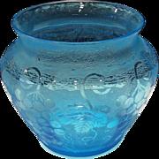 """Fostoria Blue Grape Brocade Etch #287 on #4103 - 4-1/4"""" Vase"""