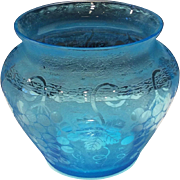 "Fostoria Blue Grape Brocade Etch #287 on #4103 - 4-1/4"" Vase"