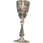 Cambridge Crystal #3750 Cordial Stem/Goblet with Minton Wreath Cutting (#1012)