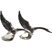 "Heisey Pair of Crystal Geese ""Wings Up"""