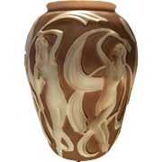 Phoenix Brown Shadow over Milk Glass Dancing Girl (Nymph) Vase