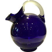 Cambridge Cobalt Blue #3900 - 80 Ounce Ball Shaped Jug/Pitcher with Crystal Handle