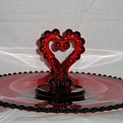 RARE Imperial Candlewick Ruby Heart-Shaped Center Handled Tray