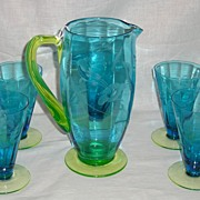 Tiffin Glass Company 2-Tone Blue 2 Quart Jug with Canary Handle & Foot with 5 Tumblers