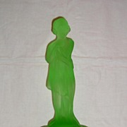 Cambridge Glass Draped Lady Flower Frog in Light Emerald Green - 13""
