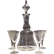 Tiffin Crystal Classic Etch #14179 - 30 Ounce Decanter & 4 - #14188 Etched Wines