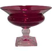 Duncan Miller Ruby & Crystal Grecian Compote