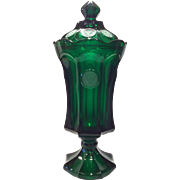 Fostoria Emerald Green Coin Pattern Urn & Cover