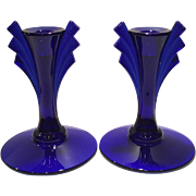 Duncan Miller Cobalt No. 16 Pair of Candlesticks