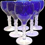 "Cambridge Cobalt (blue) Tally Ho 7-3/4"" Blown Lunch Water Goblet"