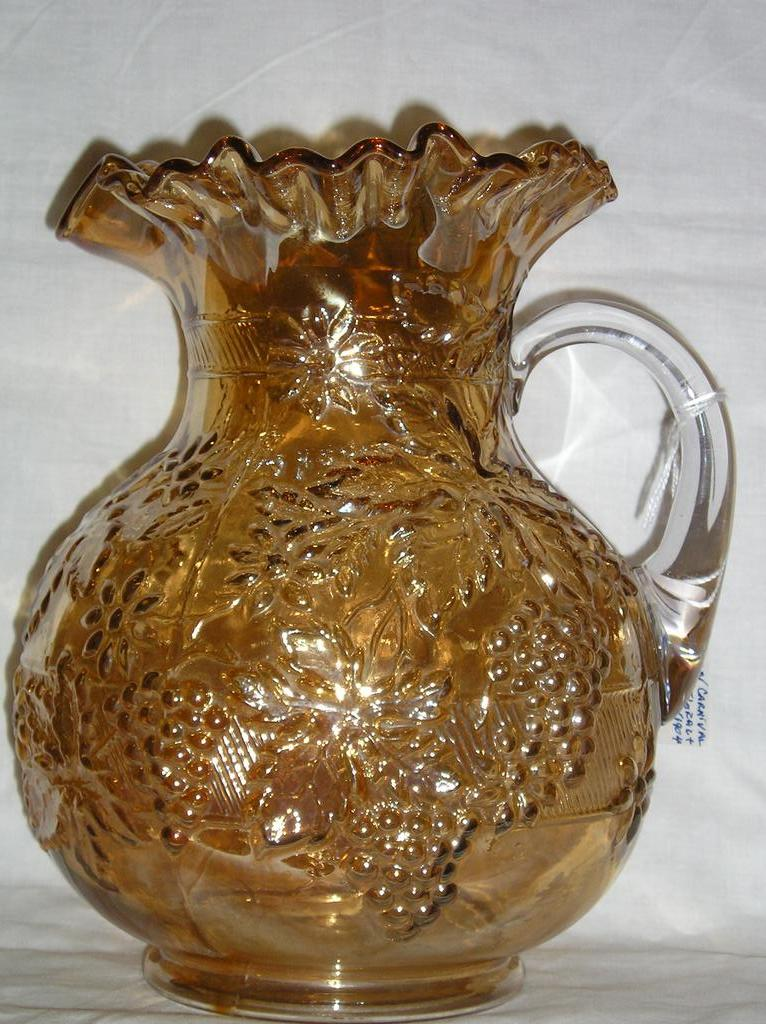 Dugan Diamond Floral and Grape pattern Marigold Carnival Pitcher