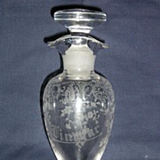Cambridge Portia etched French Dressing Oil & Vinegar Bottle