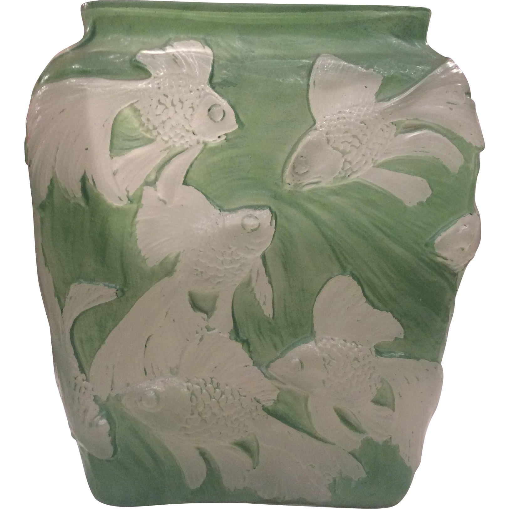 Consolidated Phoenix Green Wash Glass Tropical Fish (Gold Fish) Vase