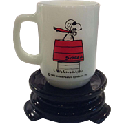 "Fire King - Anchor Hocking Milk Glass Snoopy Mug with ""Curse You, Red Baron"" Circa 1965"