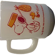 "Fire King - Anchor Hocking Milk Glass Mug with Snoopy & Woodstock - ""Snoopy, Come Home"""
