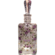 Cambridge Glass Co. # 1380 Square Crystal Decanter Charleton Decorated with Blackberries & Gold Florets