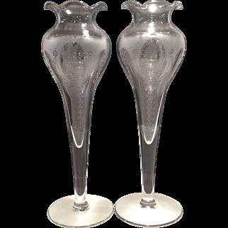 Tiffin Crystal #9780 Bulb Vase with Isabella Etch