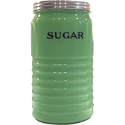 "Jeannette Round 40 Ounce ""Sugar"" Canister in Light Jadite"