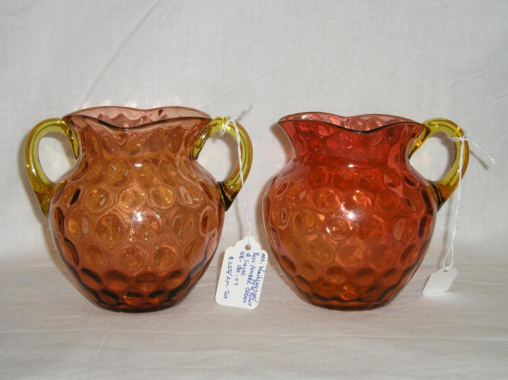 Mt Washington / Pairpoint Rose Amber Sugar & Creamer Set