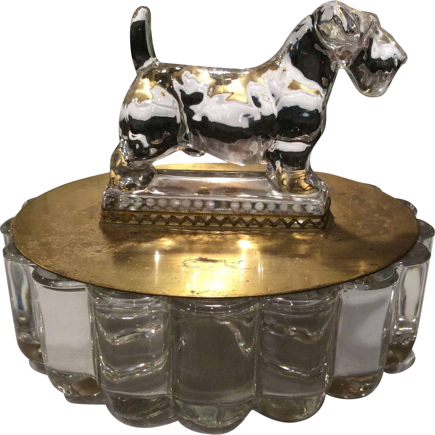 Heisey Crystolite Covered Candy with Heisey Sealyham Terrier Finial on Lid