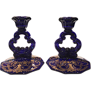 Cambridge Royal Blue (Cobalt) Keyhole Candlesticks # 3400/646 with Gold Portia Etch