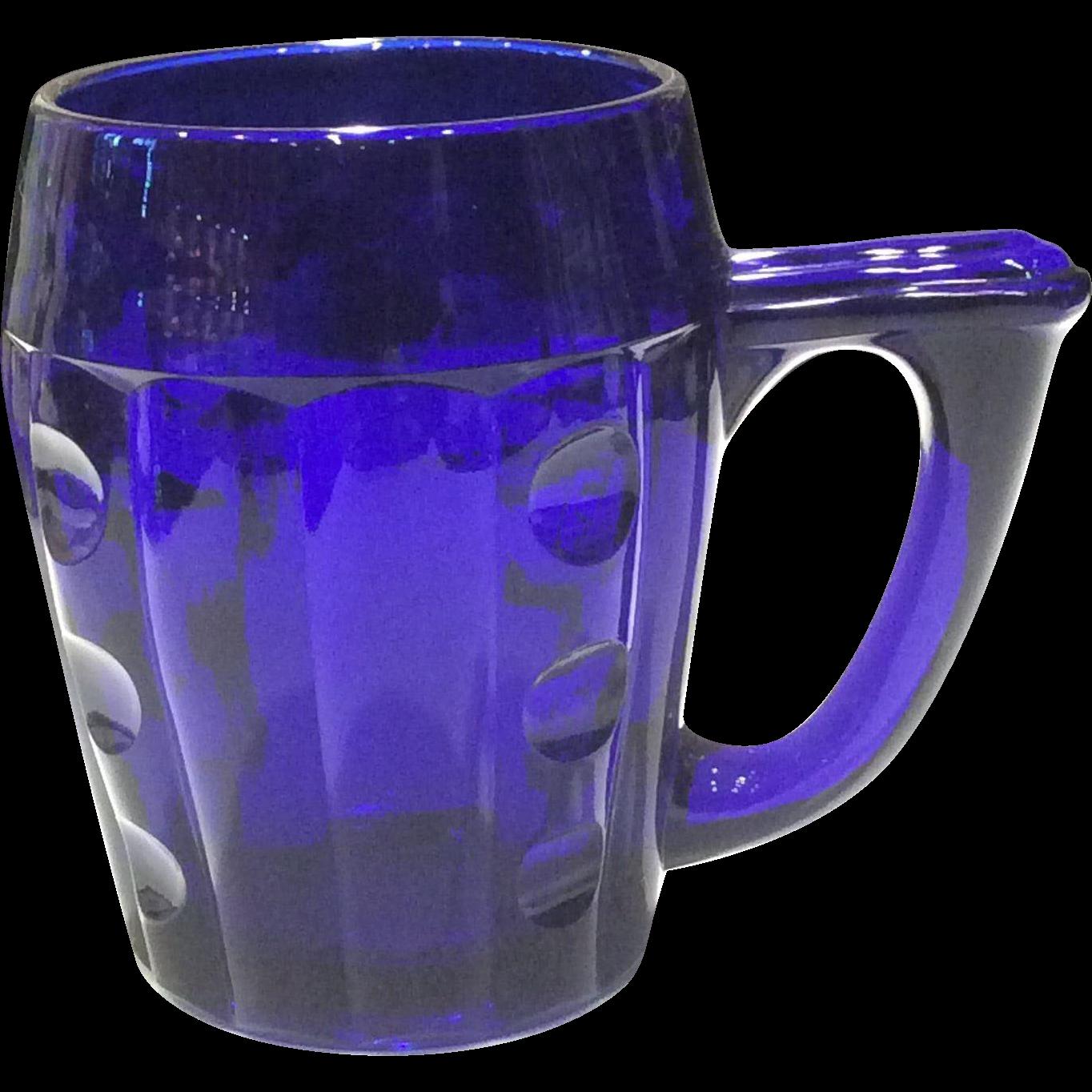 Heisey #1404 Cobalt (Steigel) Blue Old Sandwich Handled 12 ounce Mug