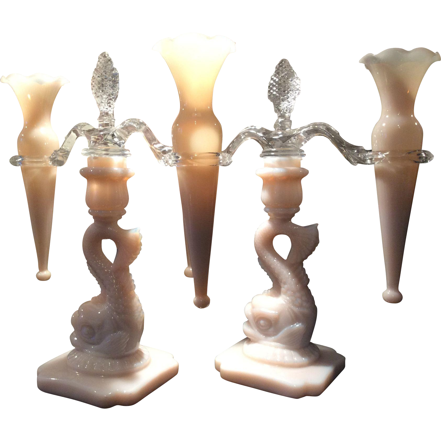 Cambridge Crown Tuscan Dolphin Epergnes with Candlesticks and matching Bud Vases