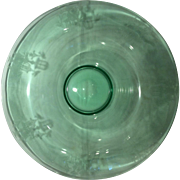 "Tiffin Glass Company, Factory ""R"", Green Fontaine Rolled Edge Centerpiece Bowl"