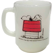 "Fire King - Anchor Hocking Snoopy Mug with ""I Think I'm Allergic to Morning"""