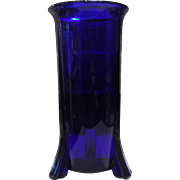 New Martinsville Rocket Footed Cobalt Blue Altar Candle Vase