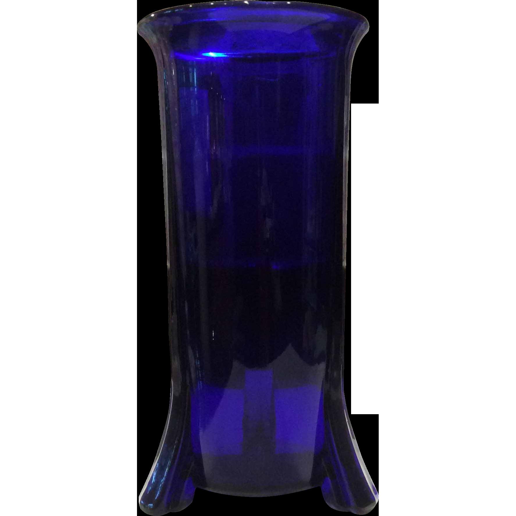New Martinsville Rocket Footed Cobalt Blue Altar Candle Vase