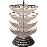 Cambridge Crystal Rose Point Etched 5 Piece Stackaway Ashtrays on Pristine Blank
