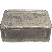 Fostoria Crystal Oak Leaf Brocaded Cigarette Box