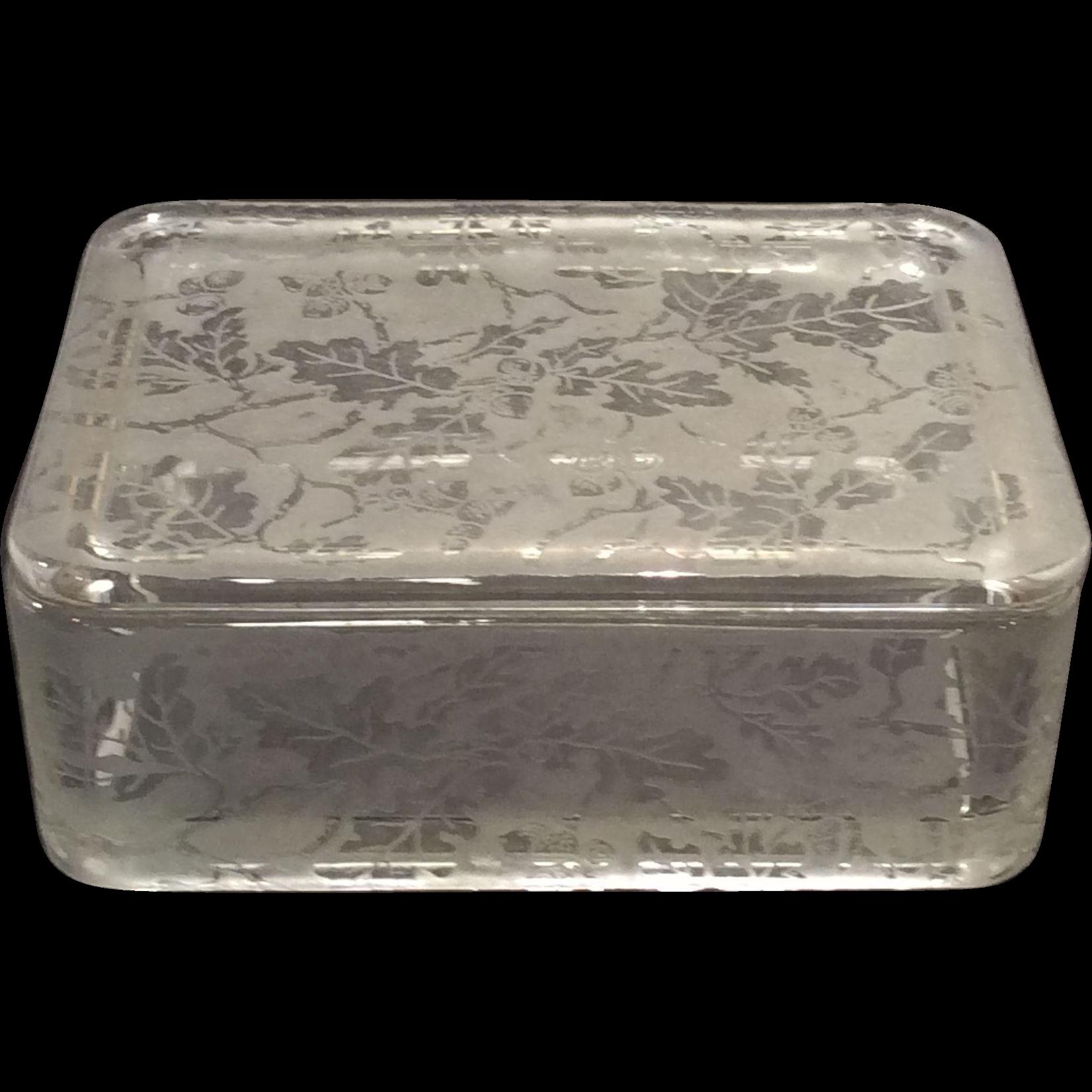 Fostoria Crystal Oak Leaf Brocaded Cigarette Box
