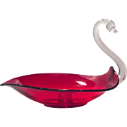 Duncan Miller Glass Co. Ruby Red Pall Mall Swan Candleholder (1)