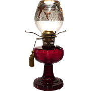 Aladdin Ruby Red Glass Electrified Beehive Oil Lamp