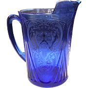 Hazel Atlas Cobalt Blue Royal Lace 48 ounce Straight Sided Pitcher